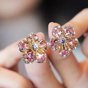 925 Silver Crystal Flower Earrings Pink Blossom Stud Zircon Charm Women Wedding