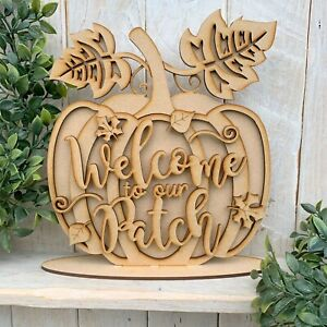 MDF laser cut wooden halloween layered Pumpkin on Stand Welcome to our patch