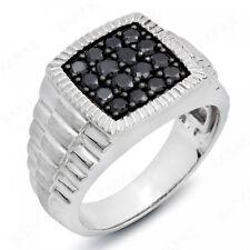 1 ct Round Cut Black Diamond 10k White Gold Men's Ring