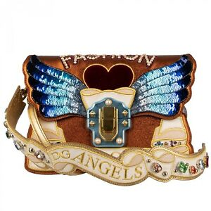DOLCE & GABBANA Shoulder Bag LUCIA DG Angels w. Wings Crystals Studs Gold 09608