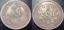 Belgique - 5 écus Charles Quint argent 1987 SUP ! KM#166