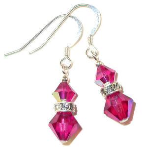 FUCHSIA PINK Crystal Earrings Dangle Sterling Silver Swarovski Elements