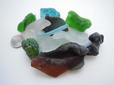 12 pc 10.3oz Bonfire, Melted, fire Fused, Beach Glass jewelry, aquariums LQQK