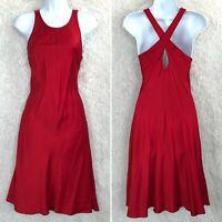 LRL Ralph Lauren Charmeuse Silk Polka Dot Dress Red Cross Back Womens Size 8