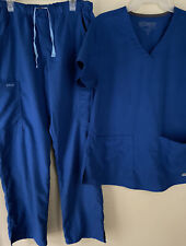 Greys Anatomy By Barco sz M Top & Pants Med Petite Slim Scrubs 2 Piece Set Blue