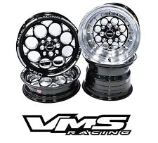 VMS RACING BLACK POLISHED FRONT & REAR DRAG WHEELS SET 4X100/4X114 13x9