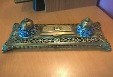 Superb Brass Double Inkell Stand with Ornate Metelwork. Blue & White Inkwells