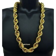 """14K Gold Plated Necklace Rope Chain 36"""" Inch Length BIG FAT Thick 25mm"""