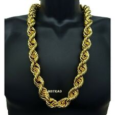 """Inch Length Big Fat Thick 25mm 14K Gold Plated Necklace Rope Chain 36"""""""