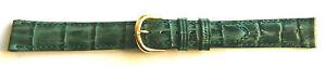 13mm FLEURUS HAND-MADE GREEN CROC GRAIN CALF LEATHER WATCH BAND / STRAP - WOW !