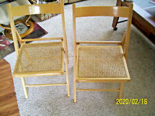 TWO Vintage WOODEN Folding Chairs with woven Seats Made in ITLAY