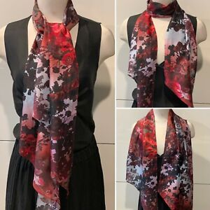 Silk & Cotton Mix Shades of Reds & Pinks Floral Long Scarf 35cm x 180cm