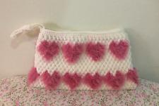Japan Fashion Handmade Women Handbag Clutch Bag White Pink Heart Cosmetic Bag
