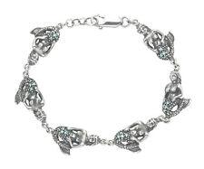 Sterling Silver Mermaid Bracelet w/Aqua Crystals BR326