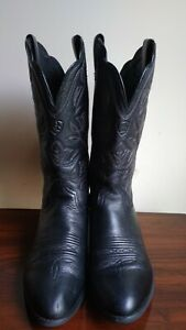 Ariat Heritage Deertan 15770 Women's Black Leather Embroidered Cowgirl Boots 8C