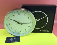 "Marksson The Crosby Stainless Steel Wall Clock 12"" - White/ Mimosa Yellow#NO0341"