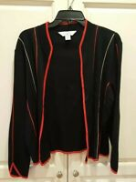 Ming Wang Jacket Black w/ Red & White Seam Accents Red Open-Front Cardigan SZ L