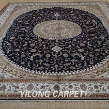 YILONG 8'x10' Hand-knotted Silk Carpet Traditional Floral Rugs 1269