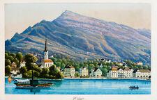 c1870 Schweiz Luzern Weggis Kolorierte Aquatinta-Ansicht Dikenmann