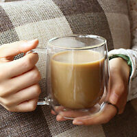 250ML INSULATED DOUBLE GLASS TEA CUP THERMO GLASS COFFEE MUG WITH HANDLE GIFT