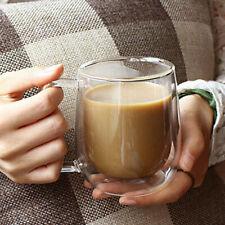 250ML INSULATED DOUBLE GLASS TEA CUP THERMO GLASS COFFEE MUG WITH HANDLE GIFT