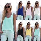 Damen Tank Top Sommer T-Shirt Bluse Träge Ärmellos Chiffon Rücken Tunika Mode
