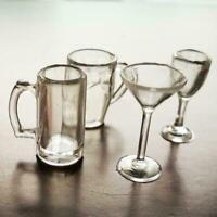 4pcs/set Red Wine Glass Dollhouse miniature Drinking set scale 1:12 glass B9E2