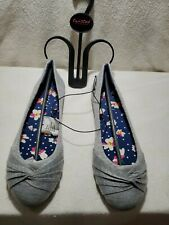 Twisted Women's RUBY Canvas Knotted Toe Ballet Flat, Heather Grey Babydoll shoes