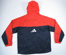 Adidas Mens Navy Blue Orange Hooded ColorBlock Windbreaker Jacket XL Logo