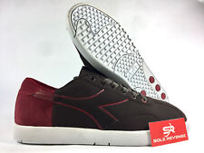 NEW! 9.5 Diadora Cassico Mens Milan Brown Red White F204383 Casual Shoes