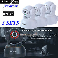 3 Set of OEM Sricam 720P Wireless IP Camera WiFi Security Night Vision Cam White