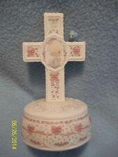 Precious Moments Music Box 1992 JESUS LOVES ME Blonde Girl Cross Figurine CUTE!