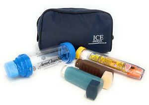 ICE Medical Midnight Blue Inhaler Medication Bag - Epipen, Spacer, Travel Home