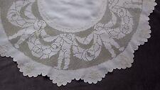 Figural Italian Sicilian Drawnwork, Mosaic Lace, Putti ( Cherubs ) Table Cover