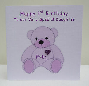 Personalised Teddy Birthday Card 1st 2nd Any Age  - Daughter Niece Granddaughter