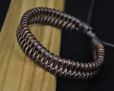 JS83 Classic Surfer Braided Leather Bracelet Wristband Cuff Cool Men's BROWN