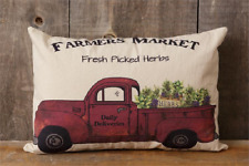 """FARMER'S MARKET Red Truck with Herbs Farmhouse Country Pillow 18""""x12"""""""
