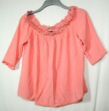 SALMON PIN KLADIES CASUAL TOP BLOUSE SIZE 14 NEW LOOK LACE DECORATION