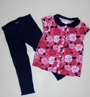 Gymboree Girls Floral Top Navy Leggings 2T NWT