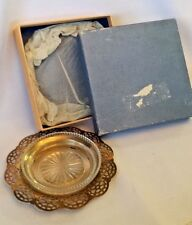 Vintage Gold Plated Caviar Dish CLEAR GLASS BOWL LINER Relish Tray SERVING BOX