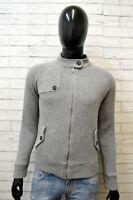 Maglione Uomo Woolrich Taglia S Cardigan Felpa Pullover Grigio Slim Lana Sweater