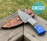 HANDMADE DAMASCUS STEEL KNIFE HUNTING DAGGER Full Tang Blade Resin & Black Horn