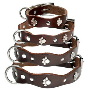 Real Leather Dog Collars Studded Collar Pet Puppy Chihuahua Yorkshire XXS-M
