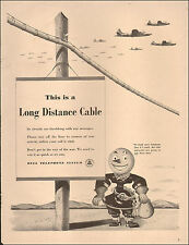 1942 WW2 era AD BELL Telephone  Cartoon Telephone Man More Poles for War  042517