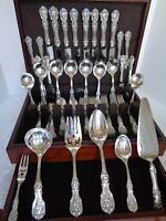 OLD M REED & BARTON FRANCIS 1 STERLING SILVER64pc FLATWARE SET FOR 8