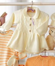 Pretty Baby  Coat Jacket  with Collar DK  Knitting Pattern  3 mths - 24 mths