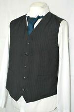 Para Hombre C&A negro a rayas de dos bolsillos Chaleco Chaleco Boda inteligente a medida 46