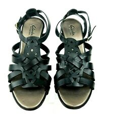 0956f802e69ed0 Clarks Lucia Cora Gladiator Sandal Wms Size 8 M Black Leather T Strap Wedge  Heel