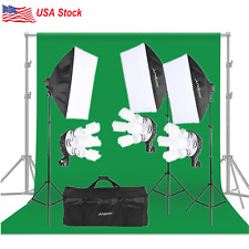 Photography Video Studio Lighting Kit Green Backdrop Umbrella Softbox Equipment