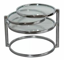 Modern Glass Coffee Table Swivel Tiers Chrome Space Saving Living Room Lounge